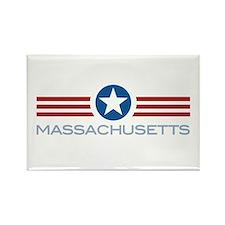 Star Stripes Massachusetts Rectangle Magnet
