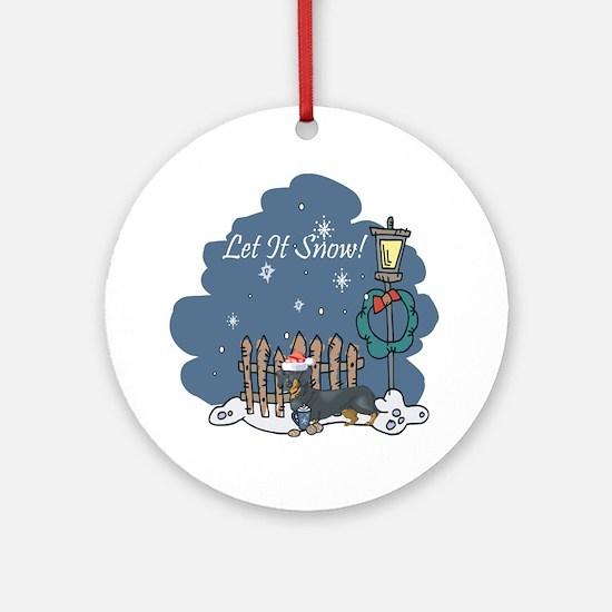 Let It Snow Dachshund Ornament (Round)