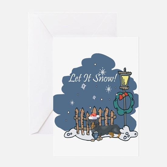 Let It Snow Dachshund Greeting Card