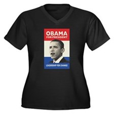 Obama JFK '60-Style Women's Plus Size V-Neck Dark