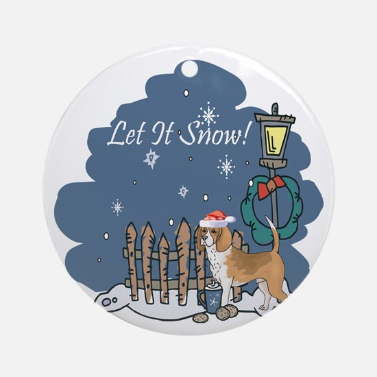Let It Snow Beagle Ornament (Round)