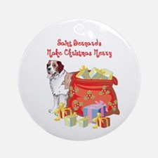 Merry Christmas St Bernard Ornament (Round)