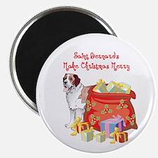 Merry Christmas St Bernard Magnet