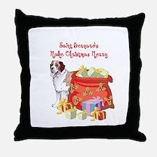 Merry Christmas St Bernard Throw Pillow