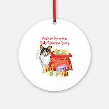 Merry Christmas Sheltie Ornament (Round)
