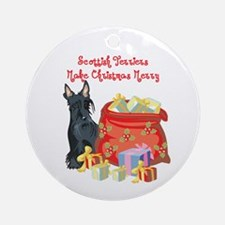 Merry Christmas Scottie Ornament (Round)