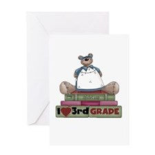 Bear and Books 3rd Grade Greeting Card