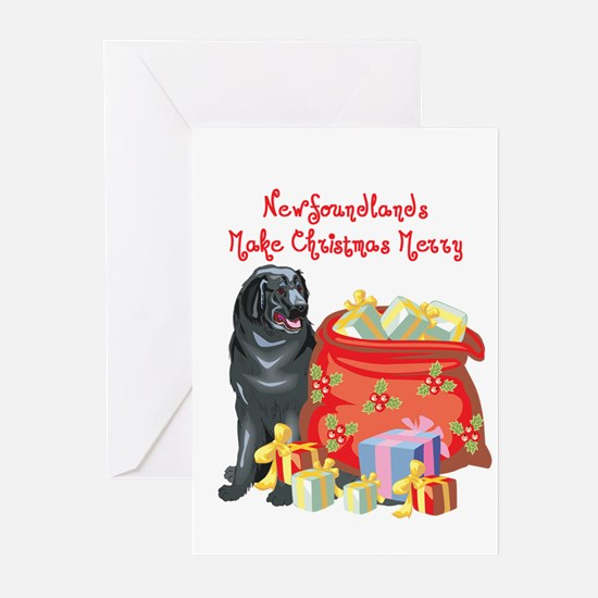 Merry Christmas Newfie Greeting Cards (Pk of 20)