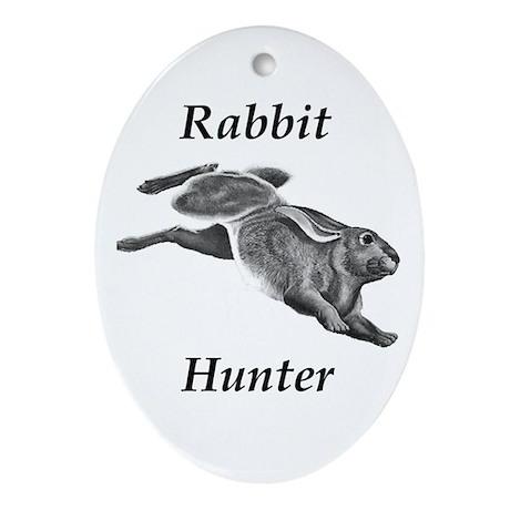 A Rabbit Hunters Christmas Oval Ornament