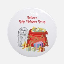 Merry Christmas Maltese Ornament (Round)