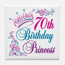 70th Birthday Princess Tile Coaster