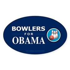 BOWLERS FOR OBAMA Oval Decal