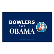 BOWLERS FOR OBAMA Rectangle Decal