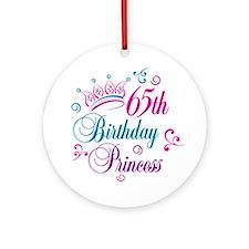 65th Birthday Princess Ornament (Round)