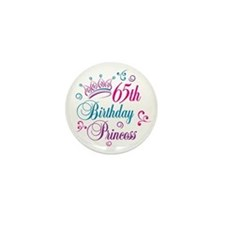 65th Birthday Princess Mini Button