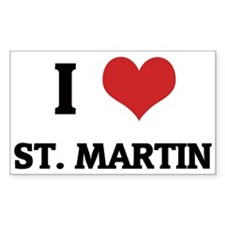 I Love St. Martin Rectangle Decal