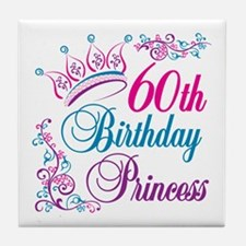60th Birthday Princess Tile Coaster