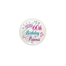 60th Birthday Princess Mini Button