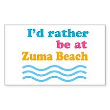 I'd rather be at Zuma Beach Rectangle Decal