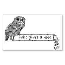 Who Gives a hoot Owl Rectangle Decal