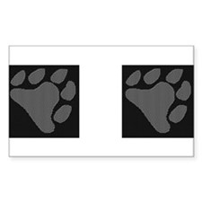 GREY BEAR PAWS/BLK BACKGROUND Rectangle Decal