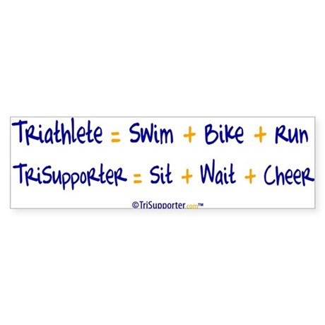 Triathlete vs. TriSupporter Bumper Sticker