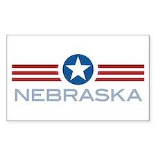 Star Stripes Nebraska Rectangle Bumper Stickers