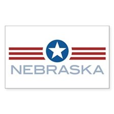 Star Stripes Nebraska Rectangle Decal