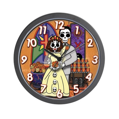 Day of the Dead Skeleton Wedding Wall Clock