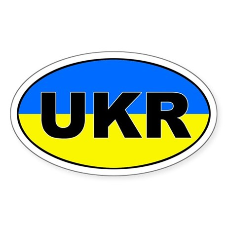 Ukraine (UKR) Flag Oval Sticker