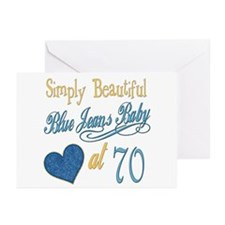 Blue Jeans 70th Greeting Cards (Pk of 20)
