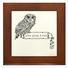 Who Gives a hoot Owl Framed Tile