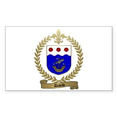 DAVID Family Crest Rectangle Decal