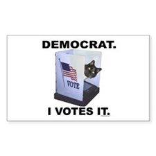 LOLCAT Votes Democrat Rectangle Decal