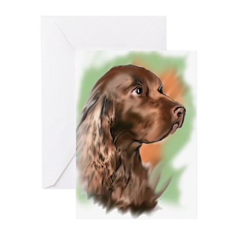 field spaniel portrait Greeting Cards (Pk of 10)