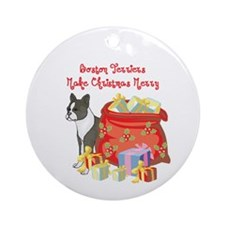 Merry Christmas Boston Terrier Ornament (Round)