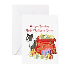 Merry Christmas Boston Terrier Greeting Cards (Pk