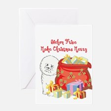 Merry Christmas Bichon Frise Greeting Card