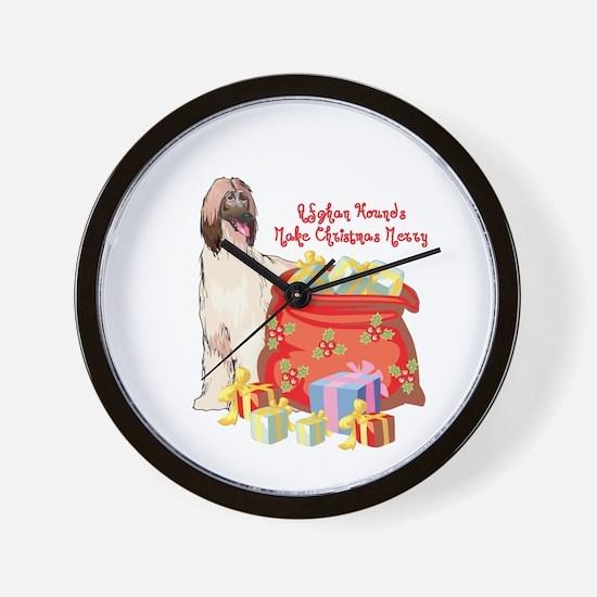 Merry Christmas Afghan Hound Wall Clock
