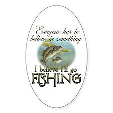 Believe in Fishing Oval Sticker (10 pk)