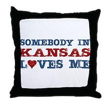 Somebody in Kansas Loves Me Throw Pillow