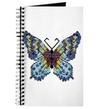 Intricate Hand-Beaded Butterfly Journal