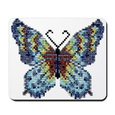 Intricate Hand-Beaded Butterfly Mousepad