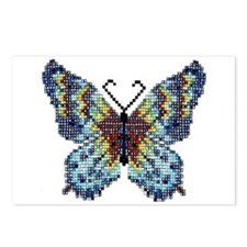 Intricate Hand-Beaded Butterfly Postcards (Package