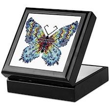 Intricate Hand-Beaded Butterfly Keepsake Box