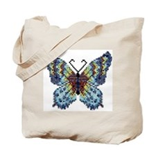 Intricate Hand-Beaded Butterfly Tote Bag