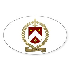 CHARLAND Family Crest Oval Decal