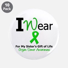 """I Wear Green (Sister) 3.5"""" Button (10 pack)"""