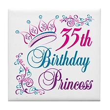 35th Birthday Princess Tile Coaster