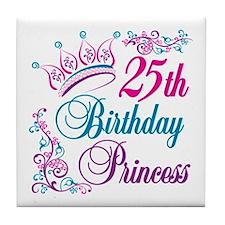 25th Birthday Princess Tile Coaster